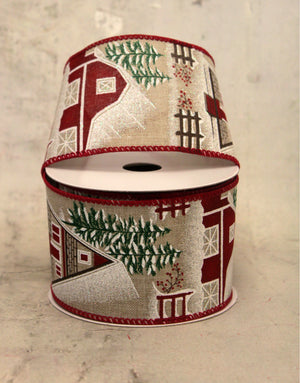 "2.5"" Frosted Farmhouse Christmas Ribbon"