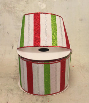 "2.5"" Red, White, & Lime Green Striped Christmas Ribbon"