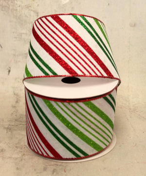 "2.5"" Red & Green Candy Striped Christmas Ribbon"