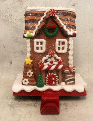 "5.5"" Gingerbread House Stocking Holder"