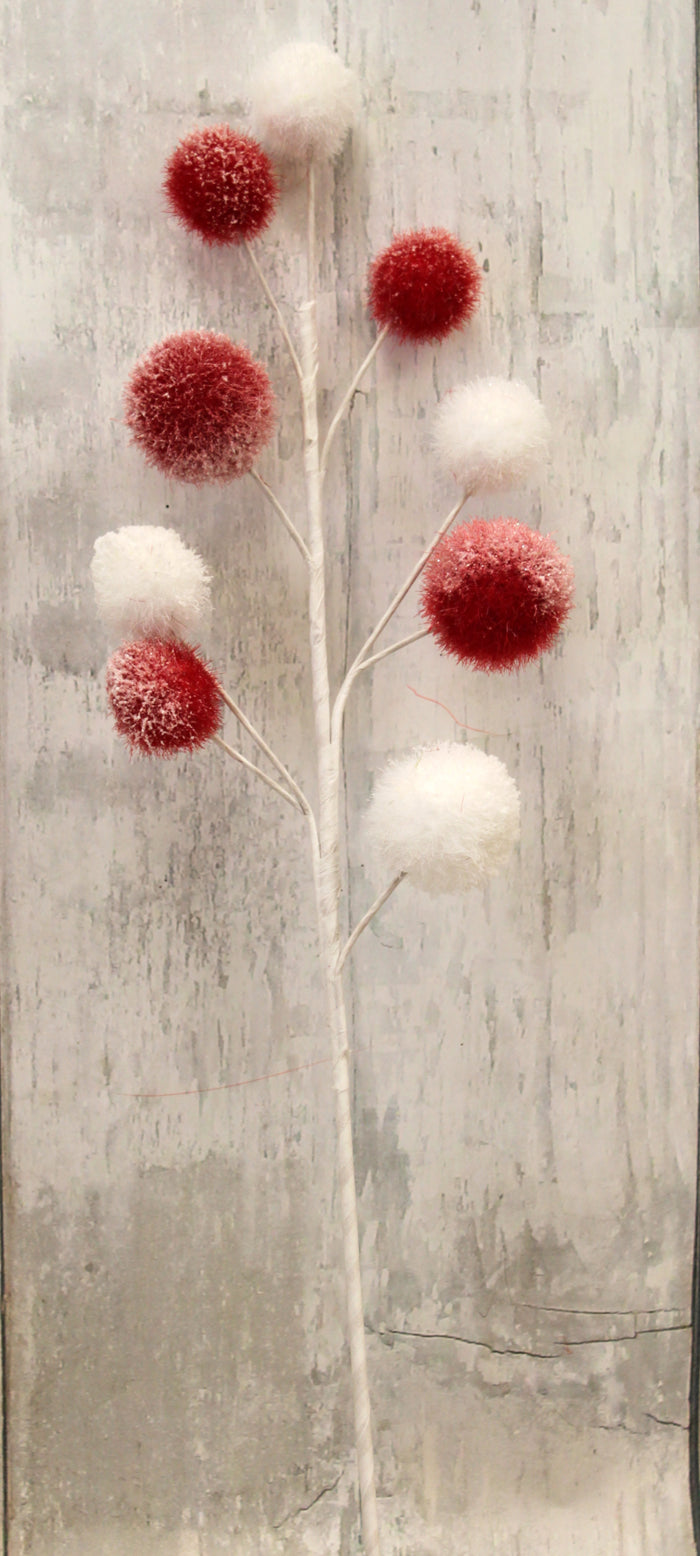 Red & White Christmas Pom Pom Ball Floral Spray