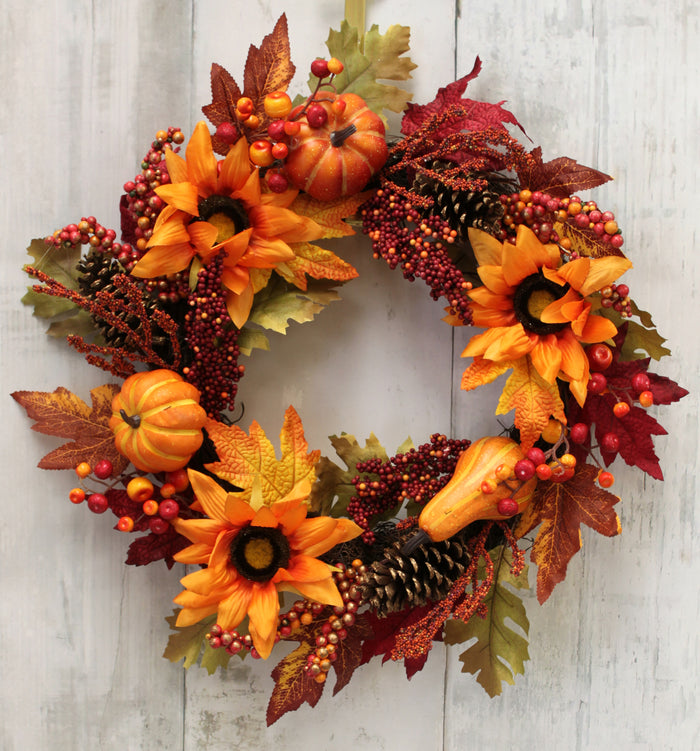 Fall Harvest Sunflower & Pumpkin Wreath