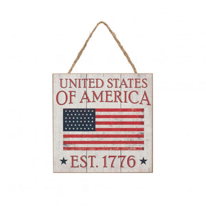 "5"" Square Antique American Flag Wooden Sign-Patriotic Decor-Ellis Home & Garden"