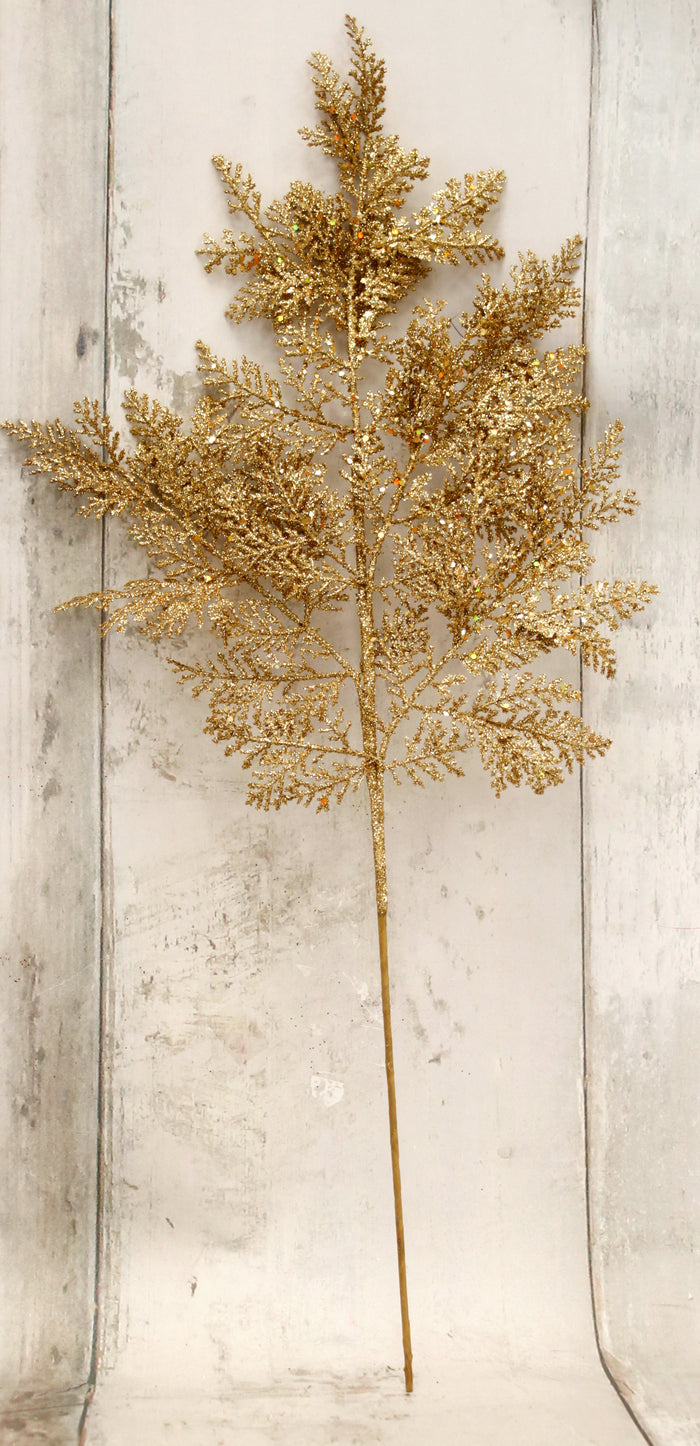 "27"" Gold Glitter Leather Leaf Fern Floral Spray"