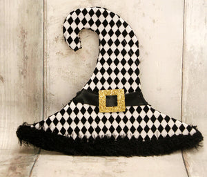 Black & White Harlequin Witch Hat Ornament
