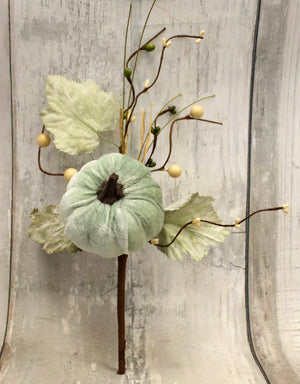 "12"" Velvet Mint Pumpkin Fall Harvest Floral Pick"