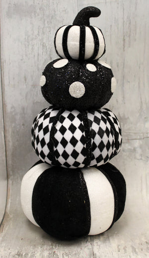 "12.5"" Black & White Pumpkin Stack"
