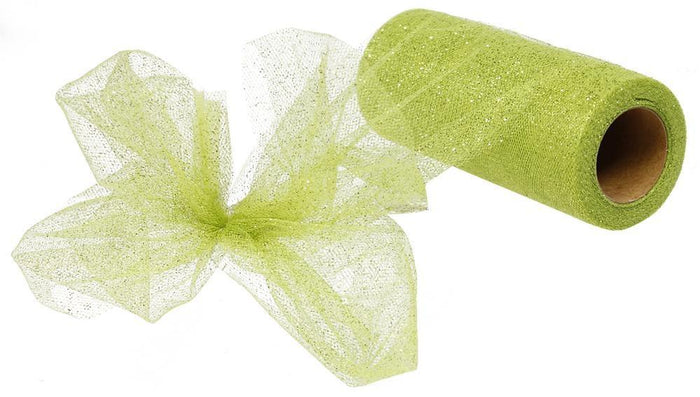 "6"" Lime Glitter Tulle - 25 yards"