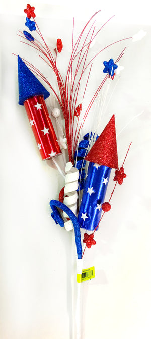"31"" Red, White, and Blue Rocket Patriotic Spray"