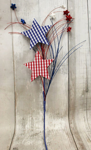 "27"" Patriotic Gingham Star Spray"
