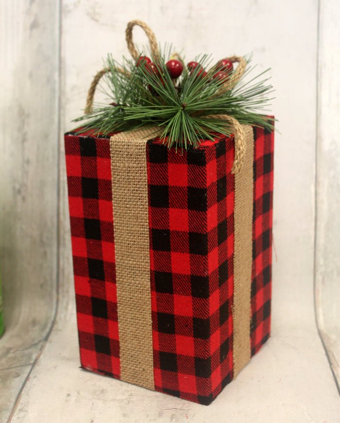 "8.5"" Black & Red Buffalo Plaid Christmas Present"