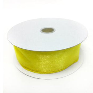 "Daffodil Wired Sheer Ribbon 1.5"" by 25 yards"