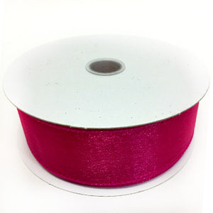 "Fuchsia Wired Sheer Ribbon 1.5"" by 25 yards"
