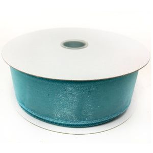 "Aqua Turquoise Wired Sheer Ribbon 1.5"" by 25 yards"