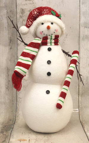 Festive Snowman with Candy Cane Tabletop Christmas Decor