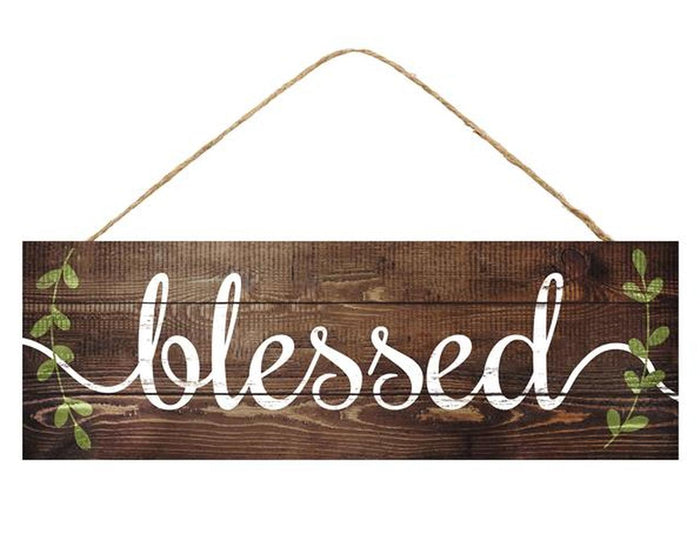 "15"" Blessed with Vines Wood Sign"