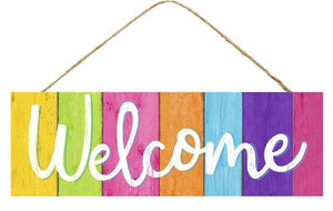 "15"" Multi-Colored Welcome Wood Sign"