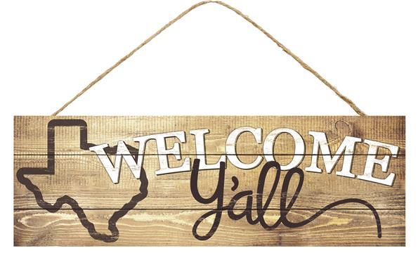 "15"" Texas Welcome Y'all Wood Sign"