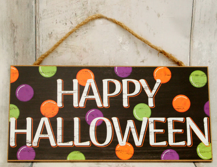 "12.5"" Happy Halloween Polka Dot Wood Sign"