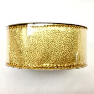 "1.5""  Wired Gold Christmas Ribbon"