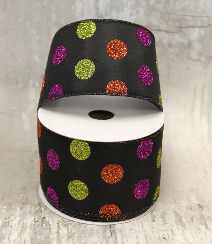 Halloween Glitter Polka Dots Ribbon