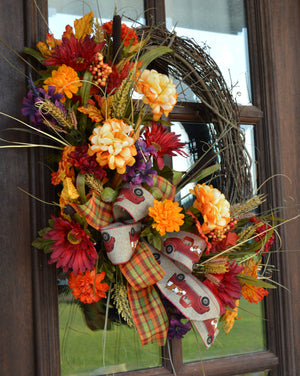 Vibrant Fall Mixed Floral Grapevine Wreath