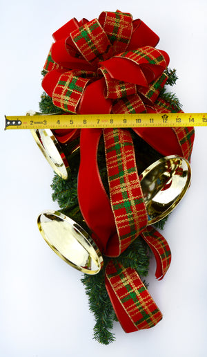 Deluxe Traditional Christmas Plaid Bell Swag