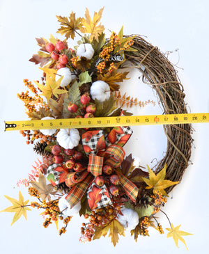 Fall Harvest White Pumpkins Grapevine Wreath