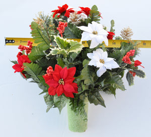 Deluxe Christmas Red & White Poinsettia Cemetery Cone