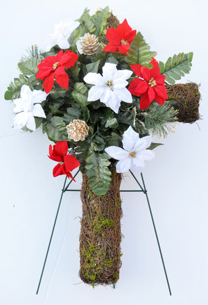 Deluxe Christmas Red & White Poinsettia Cemetery Cross