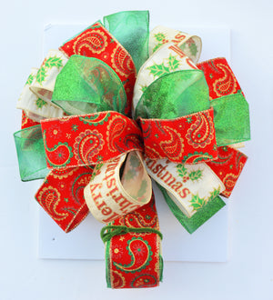 Christmas Tree Topper Bow - Traditional Paisley