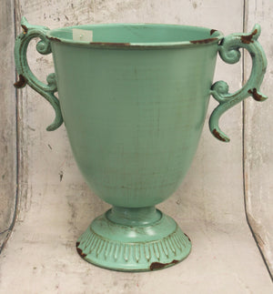 Teal Antique Metal Planter with Handles
