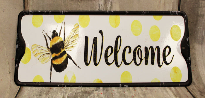 "11"" Welcome Bee Metal Sign"