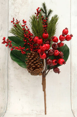 "18"" Red Berry & Pine Cone Floral Pick"
