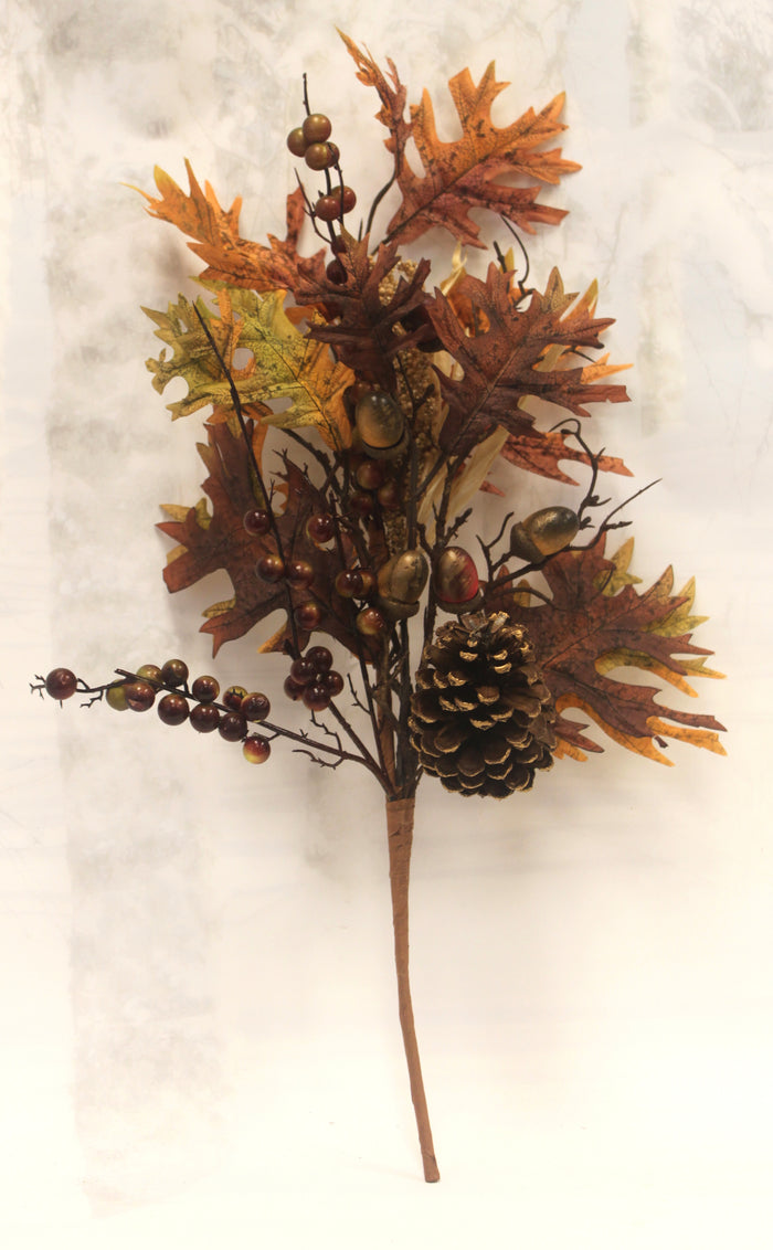 "20"" Pine Cone & Acorns Fall Leaves Floral Pick"
