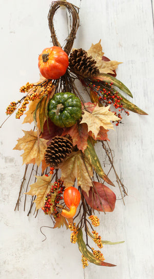 Fall Harvest Pine Cone & Pumpkin Teardrop Swag