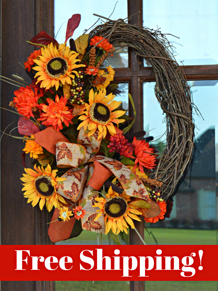 Fall Sunflower Grapevine Wreath