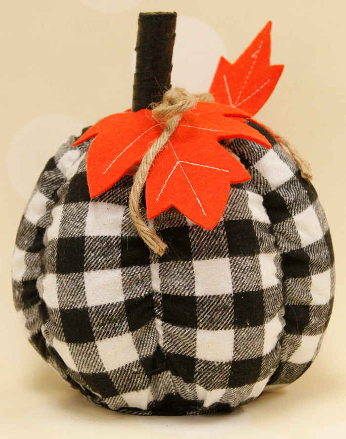 Medium Black & White Buffalo Plaid Pumpkin
