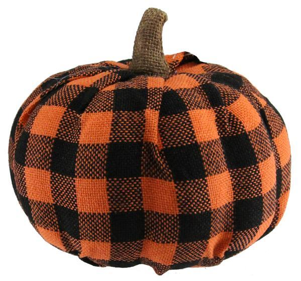 Black & Orange Buffalo Plaid Pumpkin