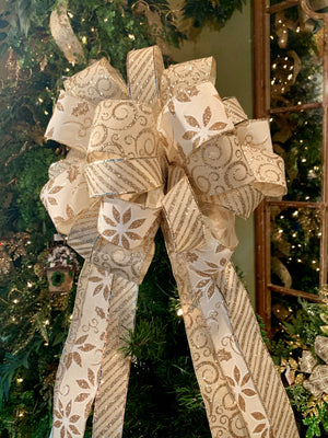 Christmas Tree Topper Bow - Elegant Champagne