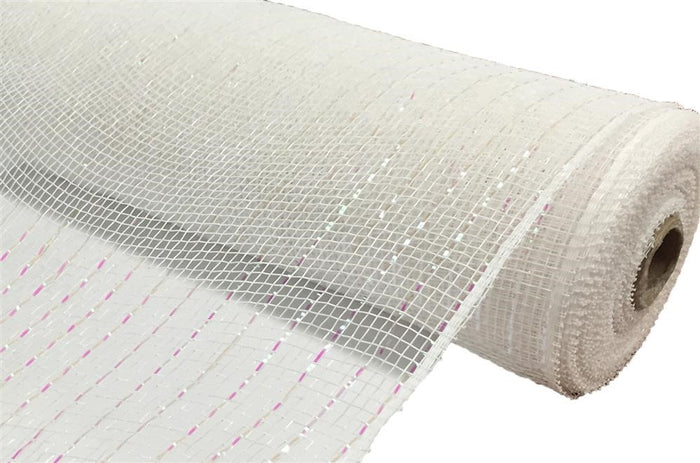 "10"" Metallic Deco Mesh -  White"