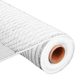 "21"" Metallic Deco Mesh - White with Silver Foil"