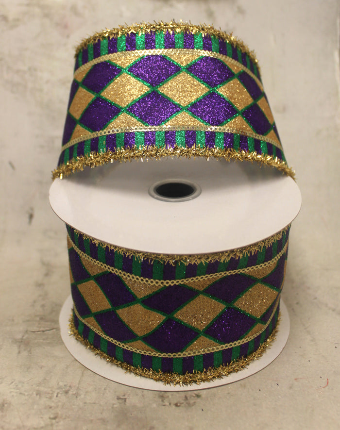 "2.5"" Mardi Gras Harlequin & Stripes Ribbon"
