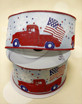 "Red Truck with American Flag on Natural Linen 2.5"" x 10 yards"