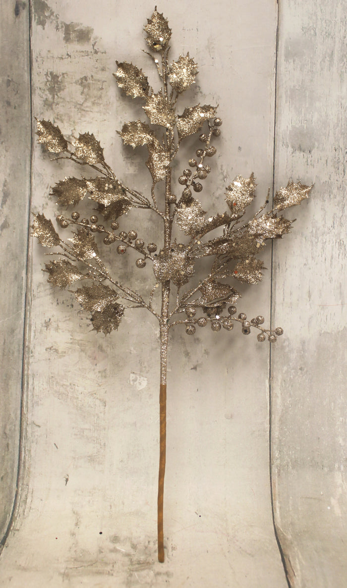 "20"" Champagne Glitter Leaves Christmas Floral Stem"