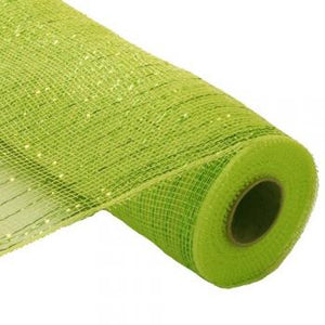 "10"" Metallic Deco Mesh - Lime Green"
