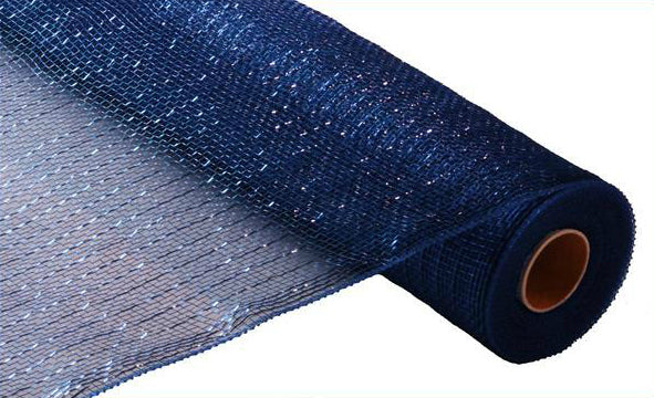 "21"" Metallic Deco Mesh - Navy with Royal Blue Foil"