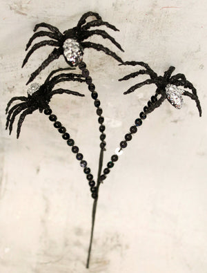 Black & Silver Spider Halloween Floral Stem-Halloween Floral-Ellis Home & Garden