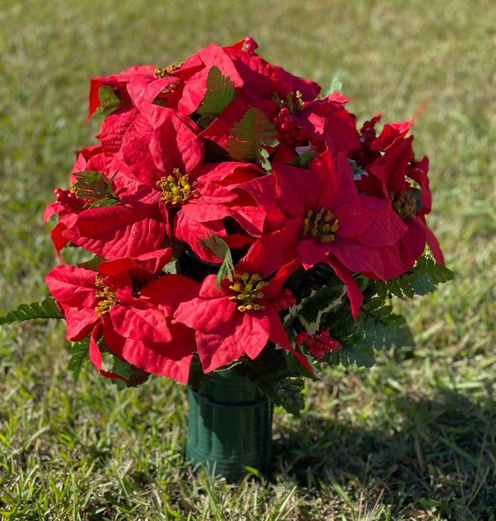 Deluxe Christmas Red Poinsettias Cemetery Cone