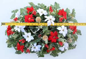 Deluxe Christmas Red & White Poinsettias Cemetery Saddle Arrangement-Christmas Memorial Flowers-Ellis Home & Garden